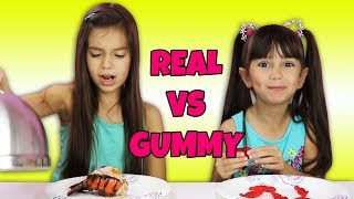 Giant Gummy Worm Candy Challenge VS Super Gross Real Food - Mommy Freaks Out!