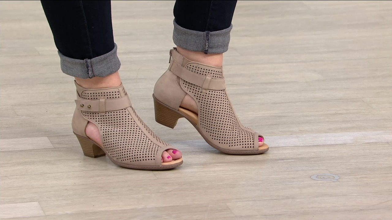 4a2bb502d22 Earth Suede Perforated Peep-toe Booties - Intrepid on QVC - YouTube