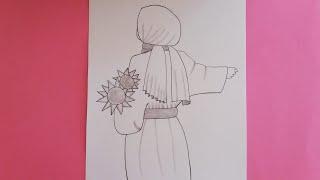 Kapalı kız çizimi/Kolay kapalı kız nasıl çizilir /Kaşe montlu çiçek tutan kapalı kız çizimi