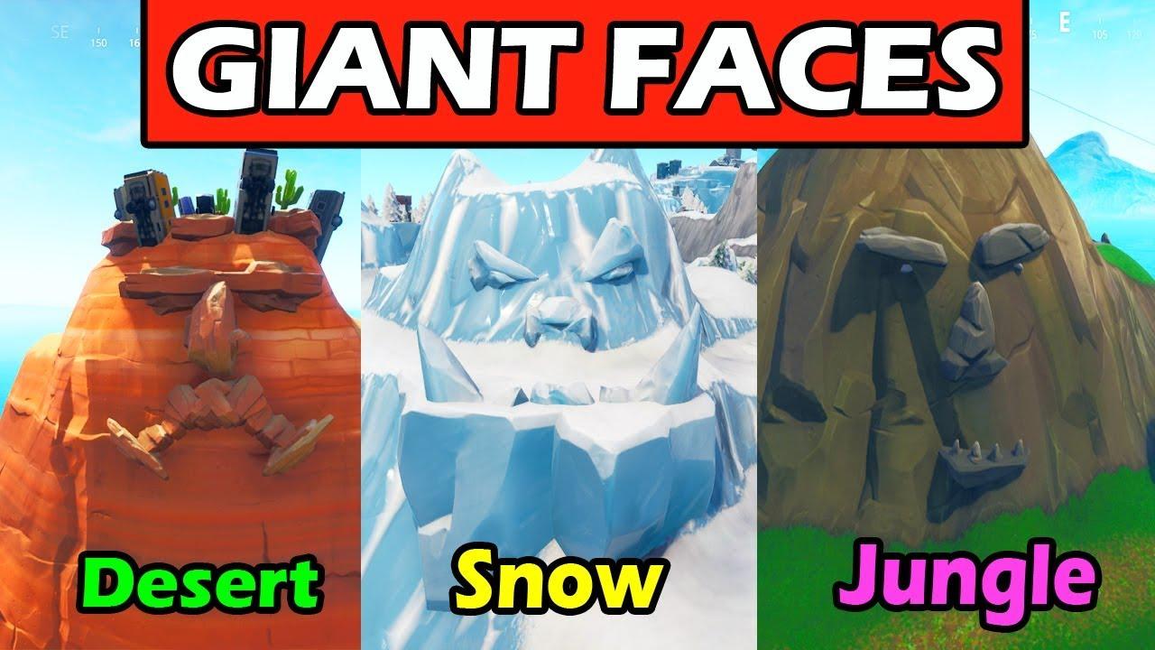 Giant face in desert jungle and snow fortnite