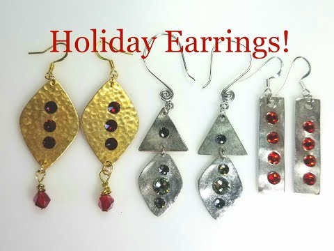 Jewelry making tutorial- How to make pretty holiday crystal earrings!