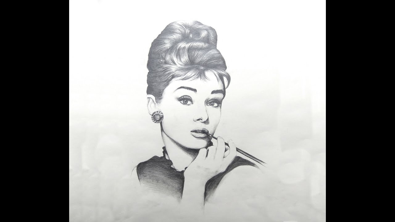 Audrey hepburn time lapse hb pencil drawing moon river