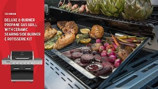 Nexgrill DEluxe 6-Burner Gas Grill w/ Ceramic Searing Side Burner & Rotisserie Kit (720-0896B)