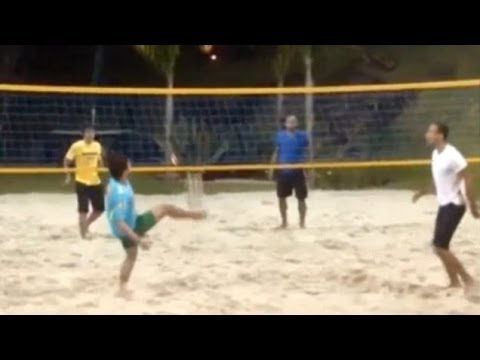 Rio Ferdinand Plays Footvolley With Rafael & Fabio Da Silva