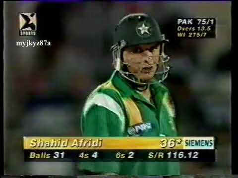 Shahid AFRIDI 67 (56) Vs West Indies - Quiet for 11 overs & then Blast - at Sharjah 1997
