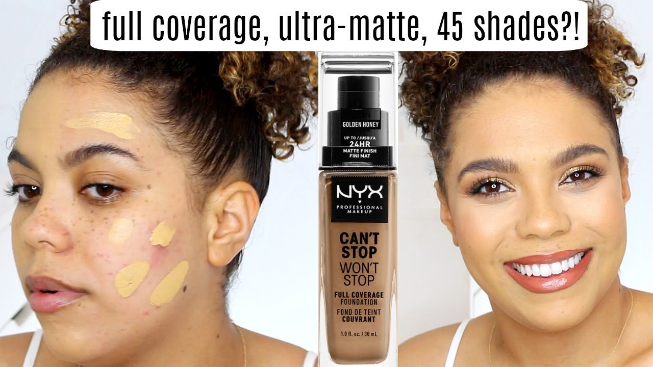 NYX Can t Stop Won t Stop Foundation Review Wear Test OILY SKIN ... 05342b65b359b