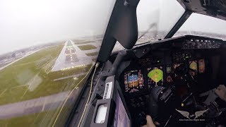 Stormy crosswind landing in LGW - Boeing 737 Captain's view