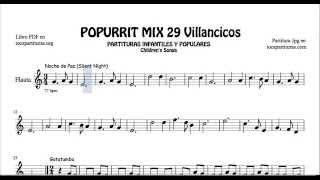29 Popurrit Mix Christmas Carol Sheet Music for Flute Silent Night Gatatumba