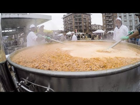 Giant Pan of Meat Tripe (Pork Stomach) Cooked on the road. Street Food of Italy