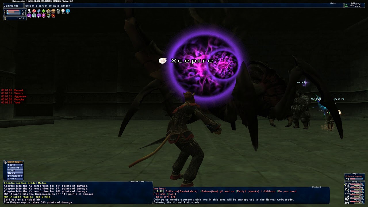 FFXI Ambuscade 119N Kuiperscorpion Solo/trusts
