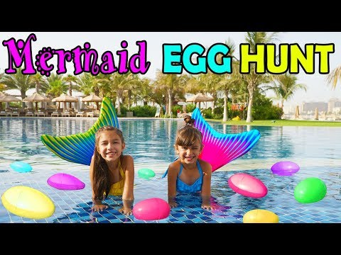 GIANT MERMAID SURPRISE EGG HUNT IN DUBAI Opening Toy Surprises - FinFun Mermaid Tails