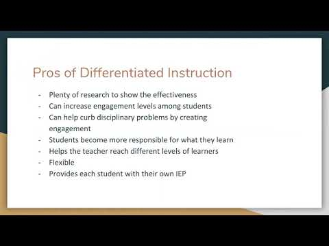 Pro's and Con's of Differentiated Instruction