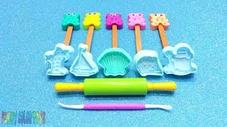 Learn colors with funny play doh 🐻🍭lollipops🍭🐻 and 🐚🍦⛵🌴 summer cokkie molds