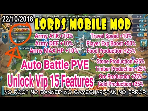 LORDS MOBILE HACK ( Auto Battle PVE + Unlock Vip 15 Features 2018