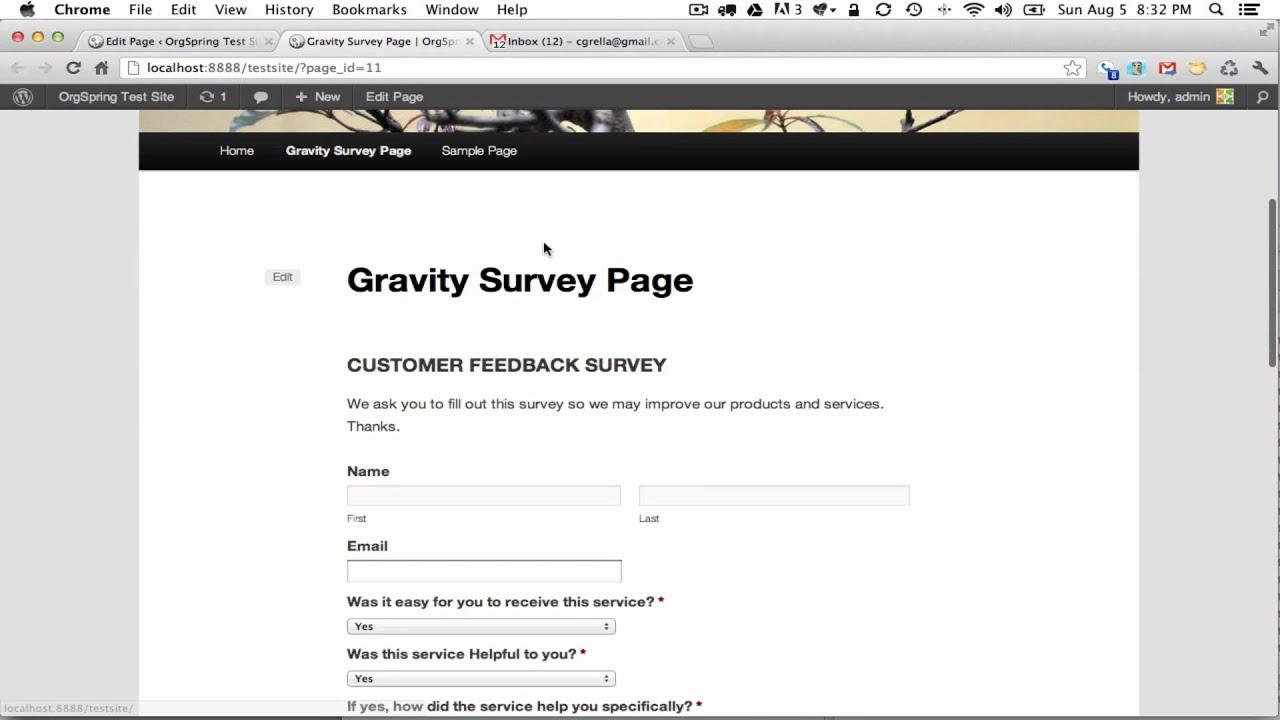 Embedding a Gravity Form Survey Into a WordPress Page - YouTube