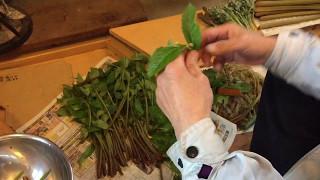 春から秋まで食べられる山菜:ミズの皮の剥き方です。 葉っぱを取りなが...