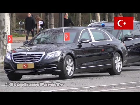 Turkish President Erdogan's convoy in Paris.