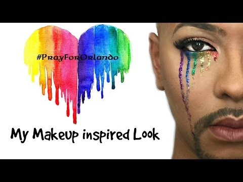 My tribute to Orlando (Rainbow Eye Makeup look) w/Glitter tears