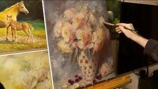 """Работа над картиной """"Пионы в фарфоровой вазе""""."""