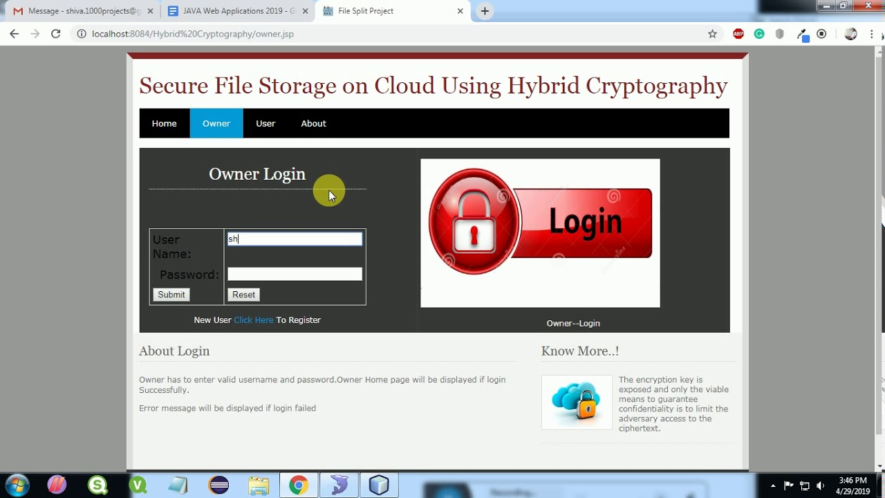 Secure File Storage on Cloud using Hybrid Cryptography by using AES, DES,  RSA