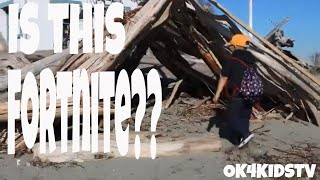 Fortnite in Real Life ? Drift Wood fort at Point Robinson Vashon Island WA ok4kidstv video 130