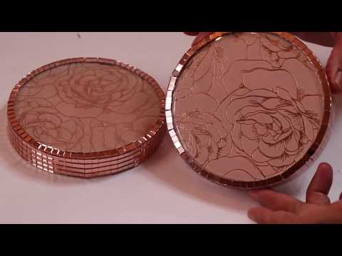 DIY BLING ROSE GOLD DECORATIVE COASTERS / CANDLE HOLDERS USING DOLLAR TREE MIRRORS
