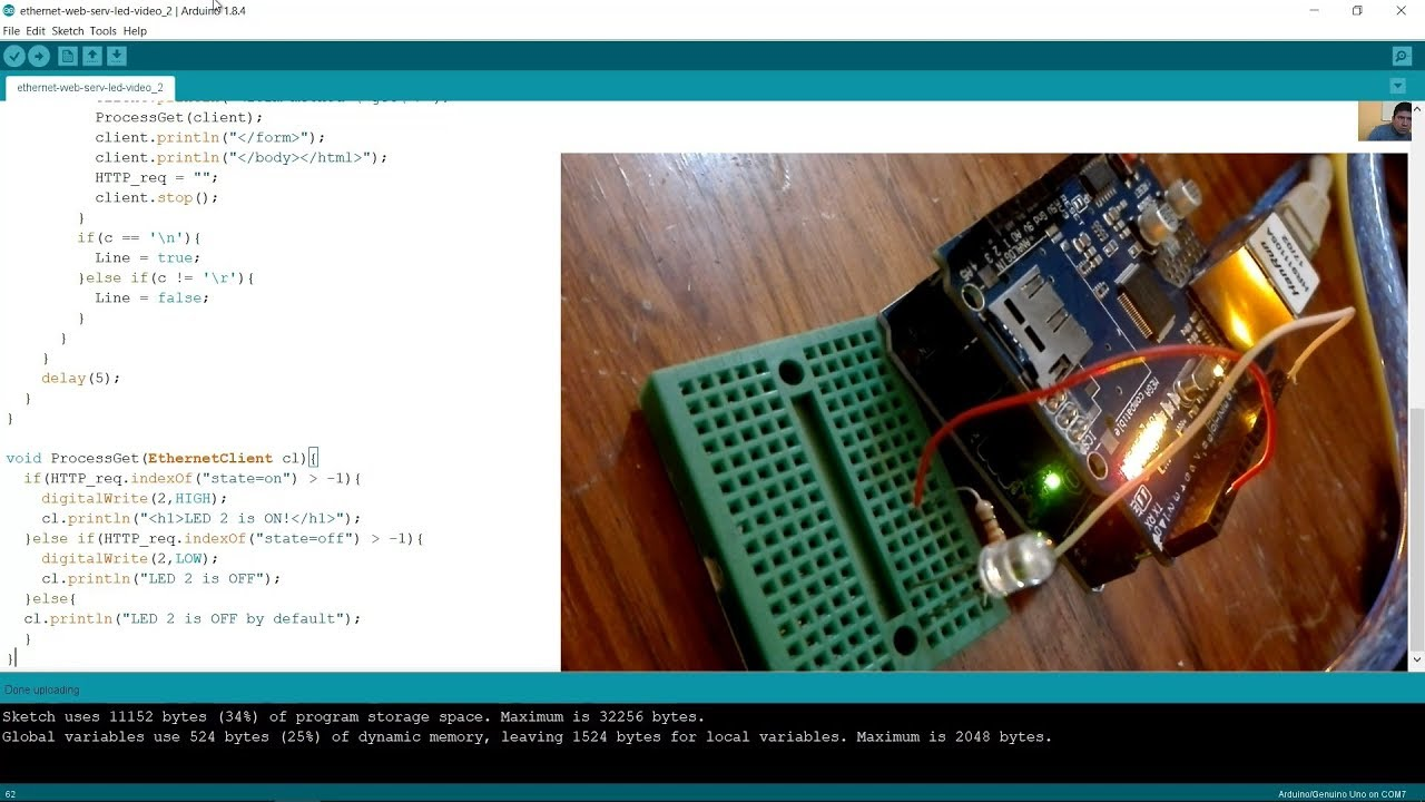 Internet of Things - Arduino UNO - Turn On a LED Using Web Server on  Ethernet Shield W5100