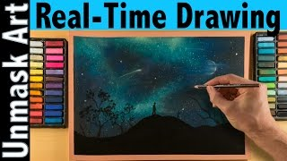 How to Draw a Night Sky with Soft Pastels | Real Time Tutorial