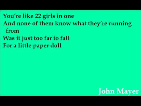 John Mayer - Paper Doll  Lyrics