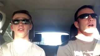 father and son lip sync road trip style