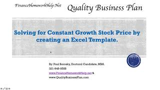 Solving for Constant Growth Stock Price by Creating a Template and Calculator in Excel