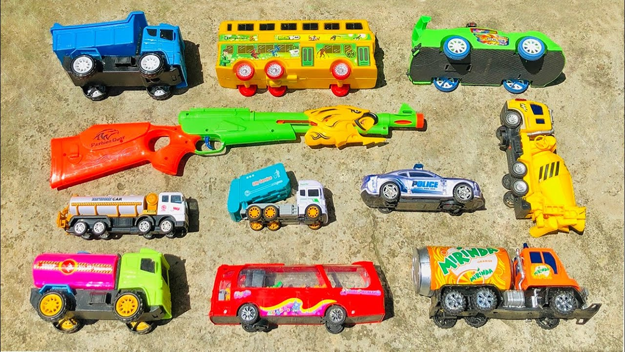 I found some beautiful toy vehicles, Dump Truck, Police Car, Double Decker Bus, Mixer Truck and ETC