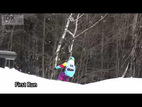 This is a slopestyle competition at Mount Snow.