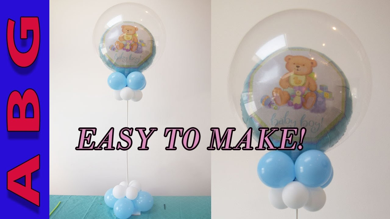 Its a boy baby shower decorations diy double bubble for Balloon decoration ideas youtube