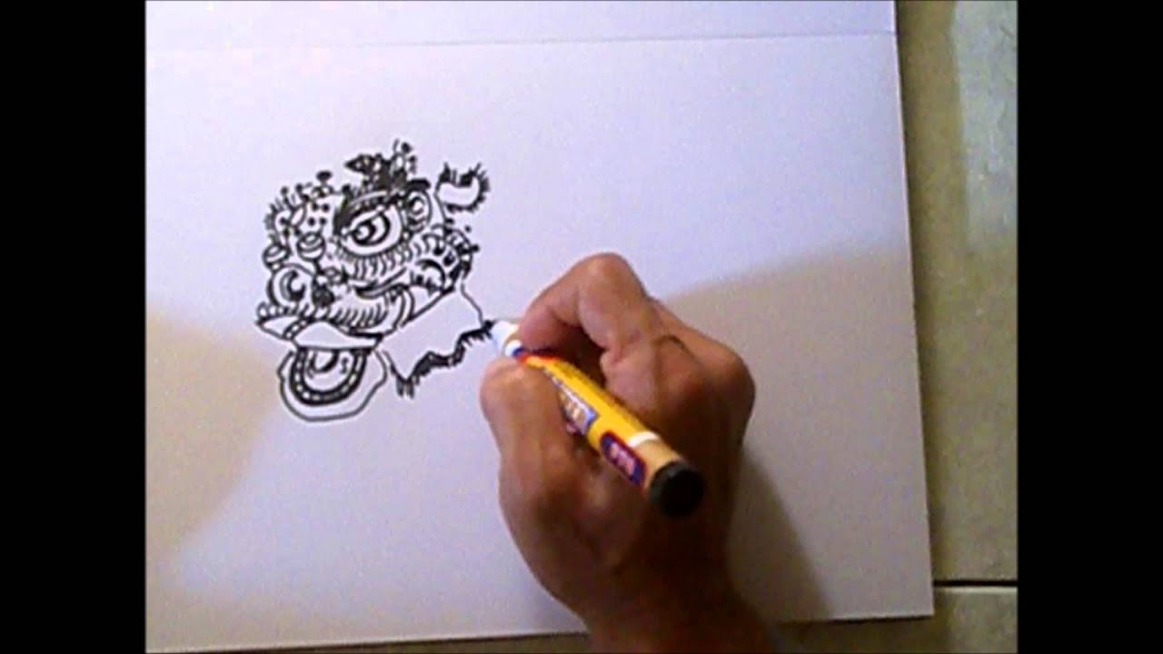 Lion Dance Drawing 05 Drawing Traditional Bristle Haired Foshan Lion