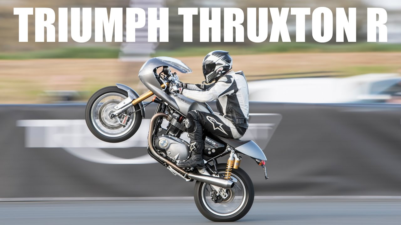 triumph thruxton r review - so many wheelies! - youtube