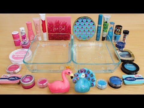 Download Flamingo vs Peacock - Mixing Makeup Eyeshadow Into Slime ASMR 276 Satisfying Slime Video