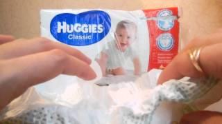 Подгузники Huggies classic сухость и комфорт для малыша(Huggies classic - подгузник для новорожденного, оценка впитывающего слоя, застежки, как сидит на малыше Подпишись..., 2015-03-07T10:44:22.000Z)