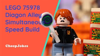 LEGO 75978 Diagon Alley Simultaneous Speed Build, Plus We Reveal The Secret Box! | CheepJokes