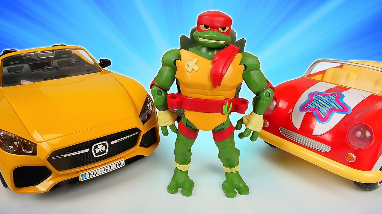 Las Tortugas Ninja eligen las pegatinas para coches. Coches de juguete. Vídeo para niños