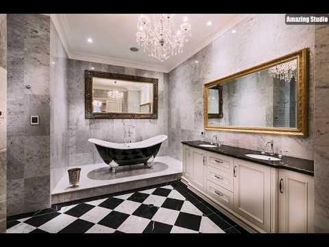 Hochwertig Luxuriöse Badezimmer Design In Schwarz Und Weiß Mit Einem Hauch Von Gold