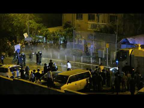 Israeli Police Shooting Water Cannon on Protesters, Jerusalem April 15/18  Part 1