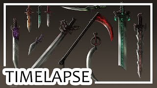Timelapse # 10 - Fantasy Swords Concepts