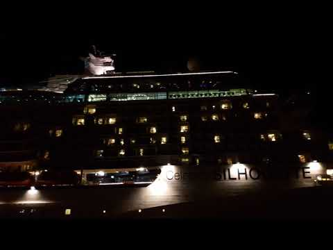 Celebrity Silhouette. Night departure from Piraeus Port