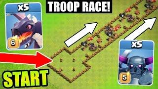 Clash Of Clans - ULTIMATE TROOP RACE!! - MAX LEVEL TROOP TROLL RACE!!