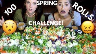 100 Fresh Spring Roll Challenge!!! MUKBANG MONDAY