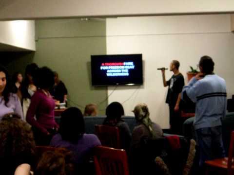"Karaoke night 2010 @ SUNY New Paltz  ""America The Beautiful"" Traditional song Jan 29, 2010"