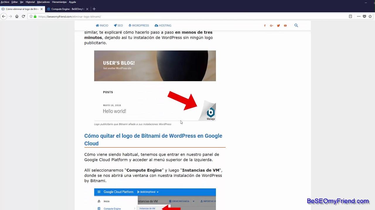 Cómo eliminar el logo de Bitnami en WordPress