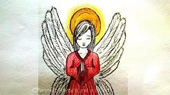Engel zeichnen lernen. Weihnachtsengel malen lernen: Weihnachtsbilder als Weihnachtsgeschenke