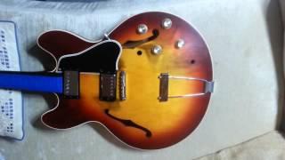 In-progress mock up of 1965 Gibson ES-335 restoration. Hurricane Katrina survivor.